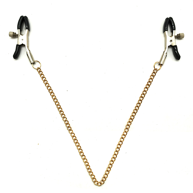 Metal Bondage Nipple Clamps Gold Chain Nipple Clips Labia Clamp Slave BDSM Women Toys Adult Sex Games Vagina Labia Spreader