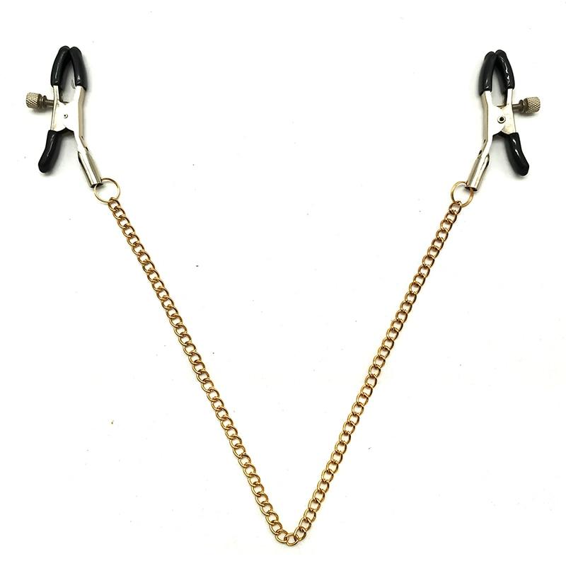 Metal Bondage Nipple Clamps Gold Chain Nipple Clips Labia Clamp Slave BDSM Women Toys Adult Sex Games Vagina Labia Spreader