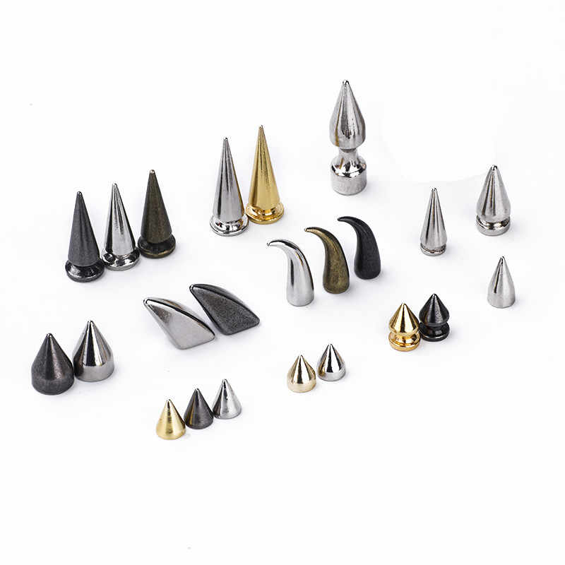 10 sztuk złoty srebrny czarny kolec punkowy nity do skórzanych pasków ubrania torebka DIY metalowe stożkowe ćwieki worki na buty dekoracji