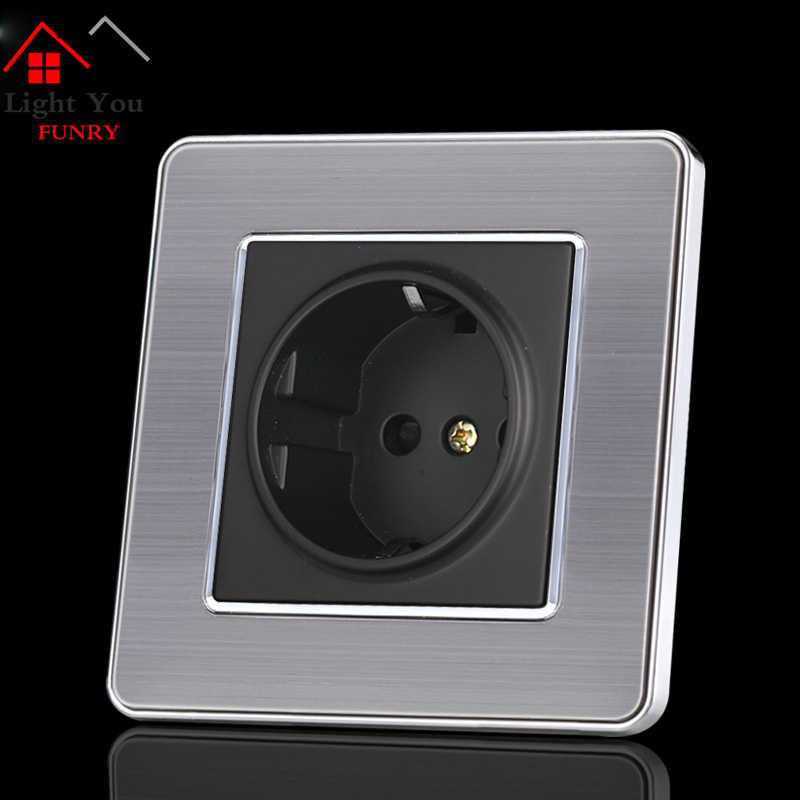16A European Wall Socket Outlet 86 Type Germany Standard Wall Charger Adapter Stainless Steel Kitchen Plug Sockets in Electrical Sockets from Home Improvement