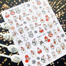 HANYI Serie de nieve de Navidad, hanyi 247 252, plantilla de calcomanía de pegatinas 3d para decoración de uñas, herramienta para uñas, decoraciones diy