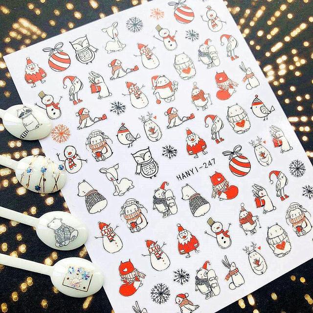 Рождественская Снежная серия HANYI, фотообои, наклейка, шаблон, сделай сам, украшения для ногтей