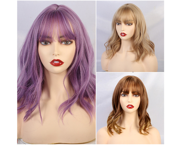 JONRENAU High Quality Short Natural Wave Hair Synthetic Wigs with Neat Bangs for Women Pink Beige Brown 3 Colors for Choose 6