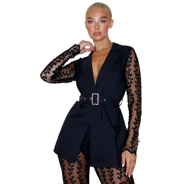 2021 Fashionable Women Lace Party Outfits Embroidery Two Piece Sets Lady's V-Neck Sashes Tops High Waist See Through Flared Pant 3