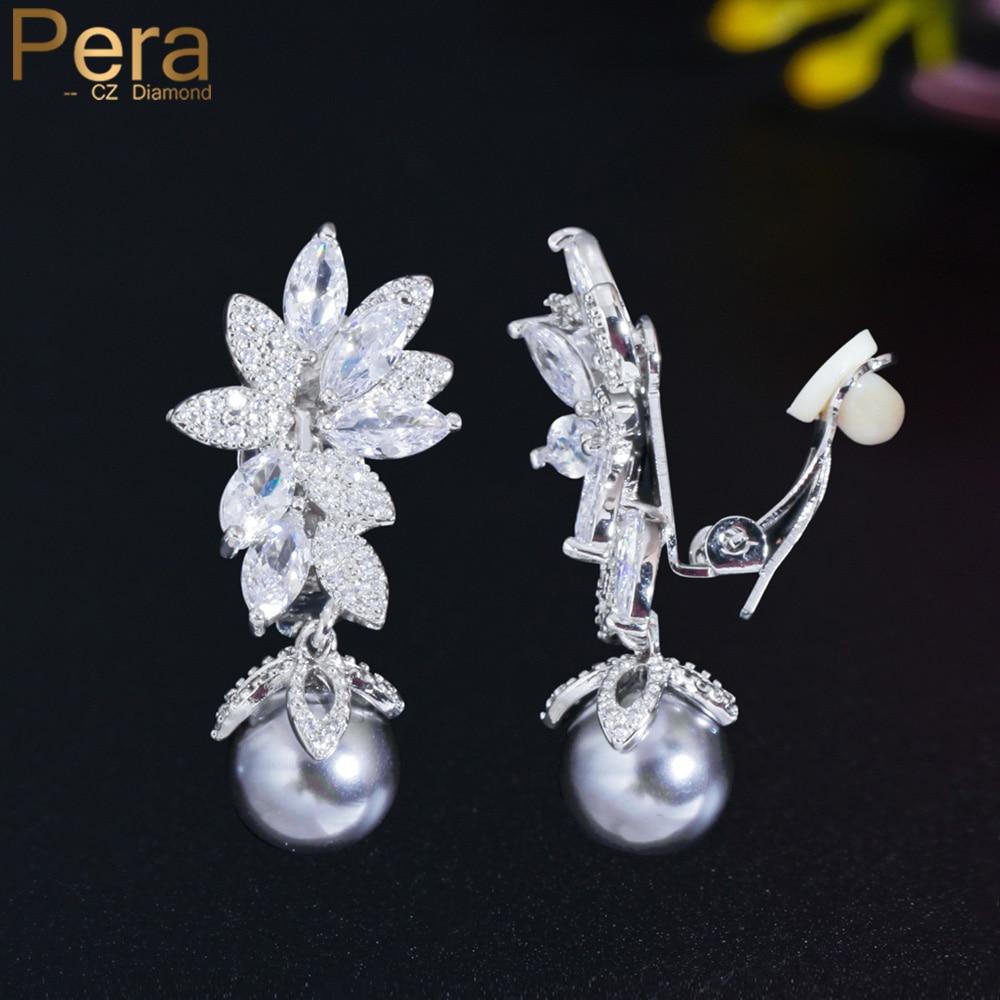 Pera Symmetrical Long Dangle Leaf Pearl CZ Crystal No Hole Pierced Ear Clip on Earrings Without Piercing Women Jewelry E702