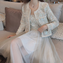 Tweed Wool Winter Blazers Women 2019 NEW Ladies Jackets Pearl buttons Casual Thi