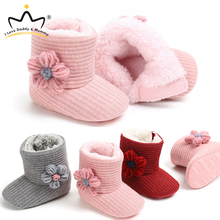 Baby Shoes Boots Flower Cotton Plush Warm Kid Winter Knitting Thick Princess Solid-Color