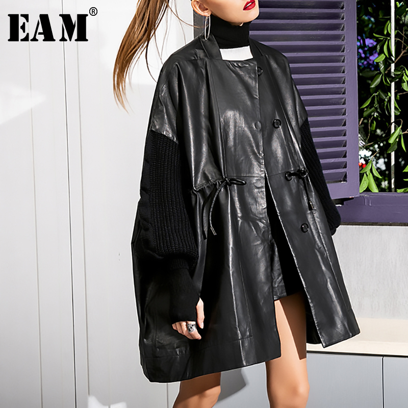 [EAM] Women Knitting Sleeve Big Size Pu Leather Oversize Trench New Loose Fit Windbreaker Fashion Autumn Winter 2019 WB67801