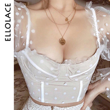 Ellolace Sexy Push Up Women's Blouse Cropped Polka Dot Puff Mesh Long Sleeve Shirt Tops Female Shirt Backless New White Blouse dot mesh panel frilled detail blouse