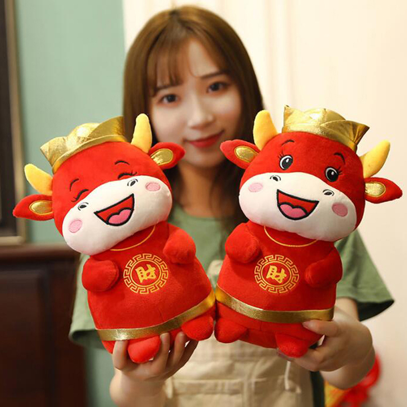 1 PC 22cm 2021 Year Chinese Zodiac Ox Cattle Plush Toys Cute Red Milk Cow Mascot Plush Doll Stuffed For Children Kids Gift-1