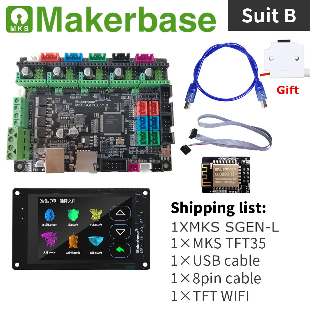 32-bit Arm Marlin Board Smoothieboard MKS SGEN_L + MKS TFT35 Colorful Display Lcd Unit 3D Printer Upgrade Kit + Stepper Driver