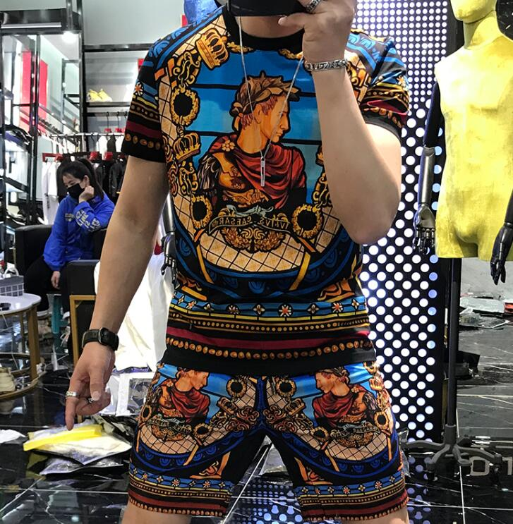 Man young Clothing tracksuits Summer Short Sleeve Suit Print Set Fashion Boy Costumes man Tee 2 Piece Suit