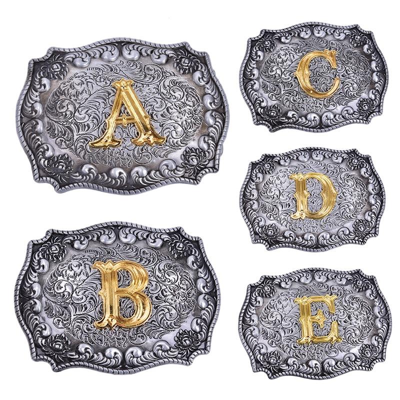 1pcs Retro Cowboy Belt Buckle With Initial Letter  Belt Buckle Head Suit Belt New Year Gifts