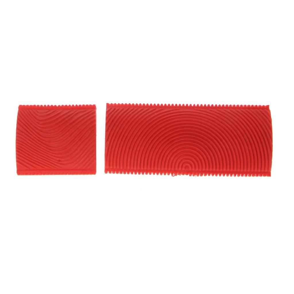 2PCS Imitation Wood Grain Paint Roller Brush Wall Texture Art Painting Tool Set