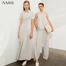 AMII Minimalism Spring Summer Solid Temperament Women Long Dress Causal Chiffon Slim High Waist Pleated Dress 12040264