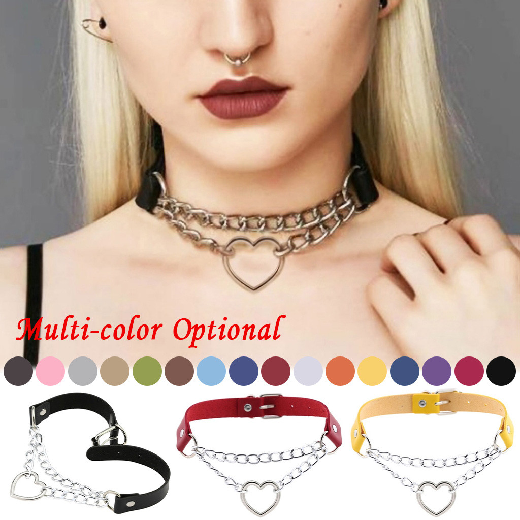 Leather with Heart Chain Choker Necklace