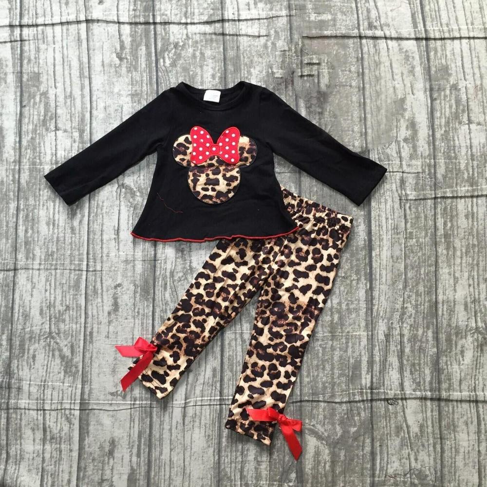 Special Offer Girlymax Fall/Winter Baby Girls Clothes Children Cotton Boutique Outfits Plaid Fox Leopard Mouse Patch Ruffles 3