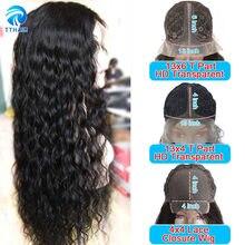 Onda de água peruca do cabelo humano perucas 4x4 fechamento do laço peruca t parte peruca do laço braizlian perucas de cabelo remy para preto 150 densidade