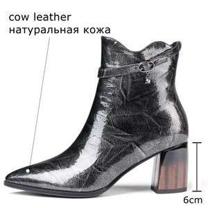 Image 4 - ALLBITEFO fashion brand high heels ankle boots for women genuine leather pointed toe thick heel winter snow boots women boots