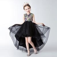 Black Mesh Children Chinese Wedding Cheongsam Dress Married Kids Princess New Year Dresses For Girls Piano China Lace Qipao