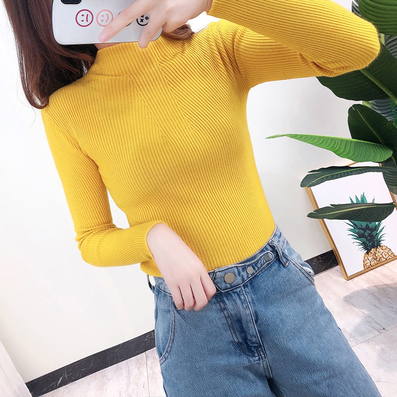 Korean Style The Solid Color Half-high Sweater Collar Simple Fashion Long-sleeved Gray Blue Solid Color Knit Sweater Y6