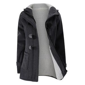 Image 5 - 2020 nowy jesień zima kobiet róg płaszcz z guzikami Slim ciepła, z wełny kurtki damskie znosić Plus size z kapturem płaszcze dla kobiet 5XL 6XL