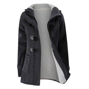 Image 5 - 2020 yeni sonbahar kış bayan korna düğmesi ceket ince sıcak yün ceketler kadın dış giyim artı boyutu kapşonlu palto kadınlar için 5XL 6XL
