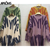 Aproms Elegant Green Striped Print Oversized Pullovers Women Winter O-Neck Loose Long Sweaters Streetwear Warm Outerwear 2021 6
