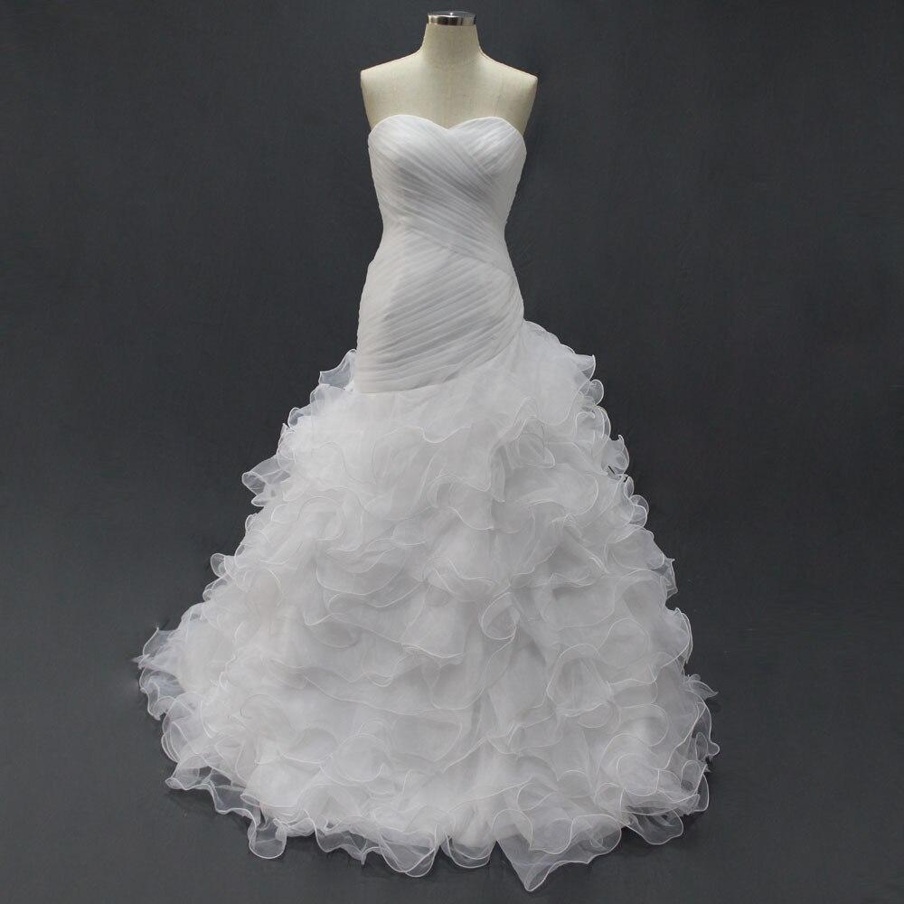 Organza blanc vraies robes de mariée Images réelles sur mesure trompette à lacets pli robe de mariée à prix réduit
