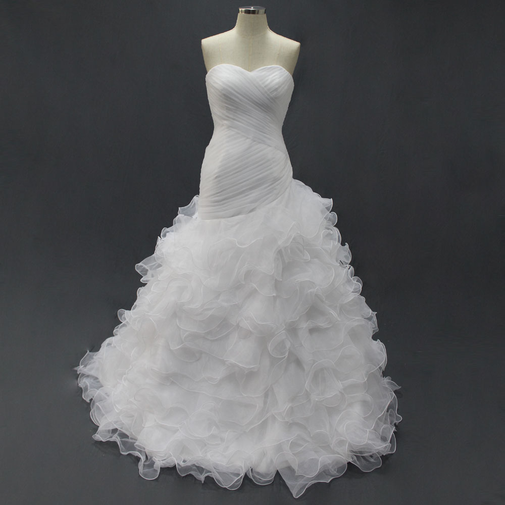 White Organza Real Wedding Dresses Actual Images Custom Made Trumpet Lace Up Pleat Bridal Gown Discounted