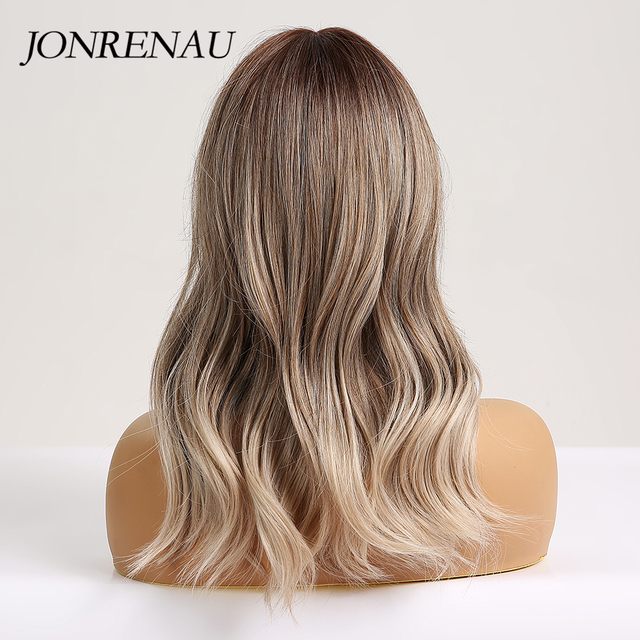 JONRENAU 16 Inches Synthetic Platinum Blonde Hair Long Natural Wave Ombre Brown Mixed Color Party Wigs for White/Black Women 5