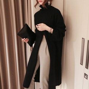 Image 4 - Женский вязаный свитер TWOTWINSTYLE, черный пуловер оверсайз с длинным рукавом и разрезом на осень