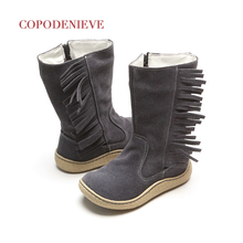 COPODENIEVE Childrens boots, deerskin and velvet thicker warmer fringed boots in winter US 7-13 Size