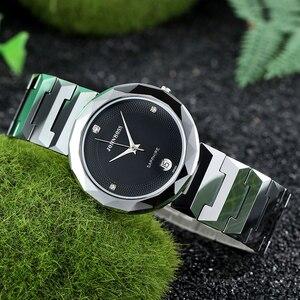 Image 5 - John Boss Simple Design Swiss Move Sapphir Cyrstal Watch Woman Diamond Cutting Buzel Design Water Resist Tungsten Steel Watch