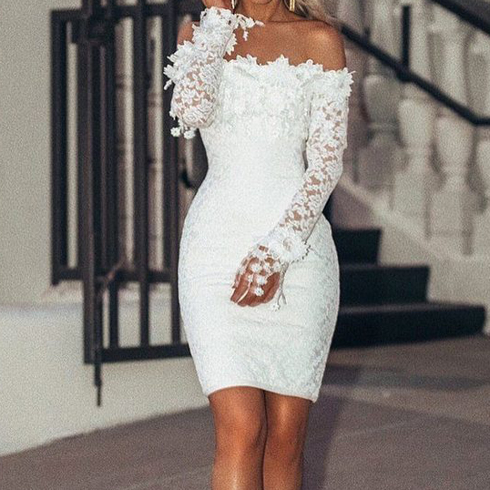 vestido de mujer Women Sexy Lace Solid  Slash Neck Off Shoulder Cocktail Party Elegant Dress femme robe платье 2021