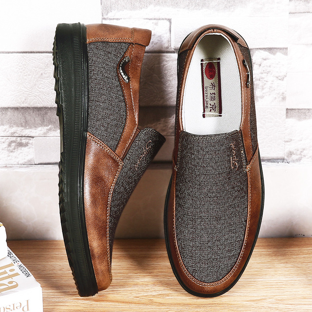 2020 Autumn Mens Casual Shoes Comfortable Breathable Slip on Flat Canvas Loafers Shoes Men Soft Driving Shoes Oversized Size 50