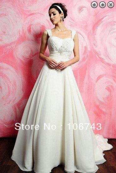 Free Shipping Ball Gown 2015 Bridal Gown Bride Dress Custom Vestidos Formales Long Plus Size White Lvory Chiffon Wedding Dresses