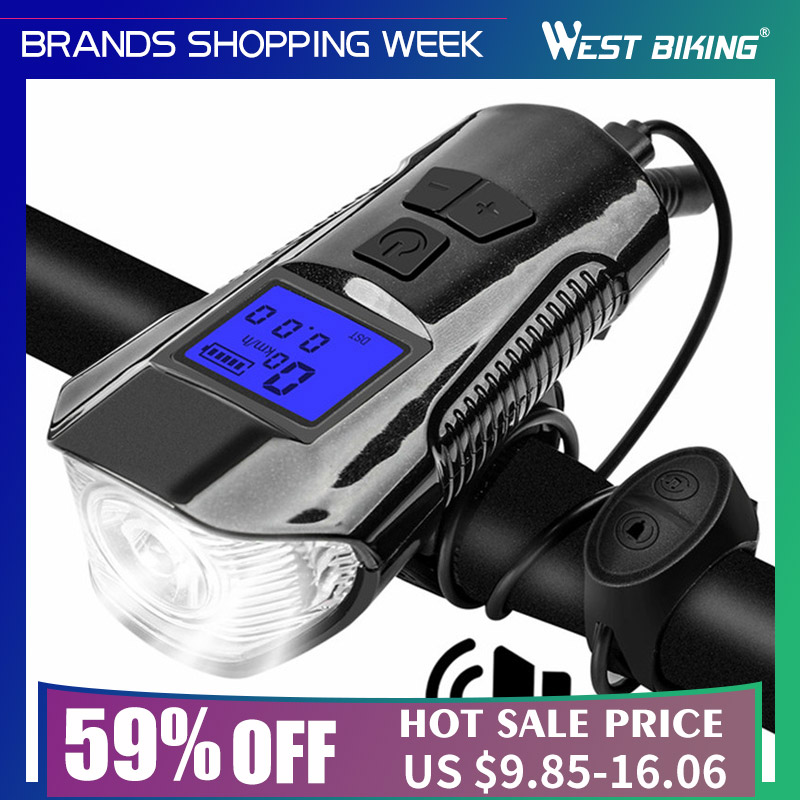 Bike-Torch Handlebar-Headlight Bicycle Computer Electric-Horn Front-Light West Biking