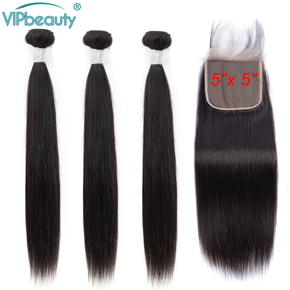 5x5 Closure With Bundles Remy Straight Hair 3 Bundles With Closure Peruvian Human Hair Weave Bundles With Closure Hair Extension