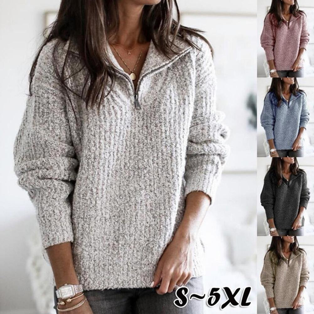 Autumn Winter Sweaters Pullovers Women Casual Lapel Zipper Long Sleeve Knitted Sweaters Loose Pullover Sweater Womens Top