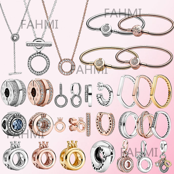 Fahmi 925 Silver Original Signature Gold Rose Logo & Crown O Charm Earring China Exclusive Bracelet Double Hoop T-Bar Necklace