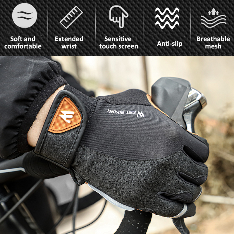 WEST BIKING Sports Cycling Gloves Touch Screen Men Women Gloves Winter Windproof MTB Bicycle Motorcycle Skiing Fitness Gloves