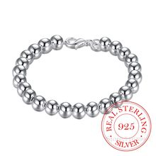 Wholesale European Fashion Woman Girl Party Birthday Wedding Gift Vintage 8mm Beads Bell 925 Sterling Silver Bracelet for women(China)
