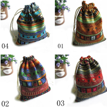 3Pcs 9.5cm X12cm Cotton Gift Bags Multicolor Tribal Tribe Drawstring Jewelry Bags Pouches Package Storage Chinese Ethnic Style