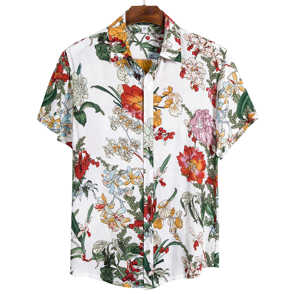 Adisputent 2020 Beachwear Floral Shirt Men Casual Printed Button Down Short Sleeve Shirt Hawaiian Blouse Hombre Male Clothing
