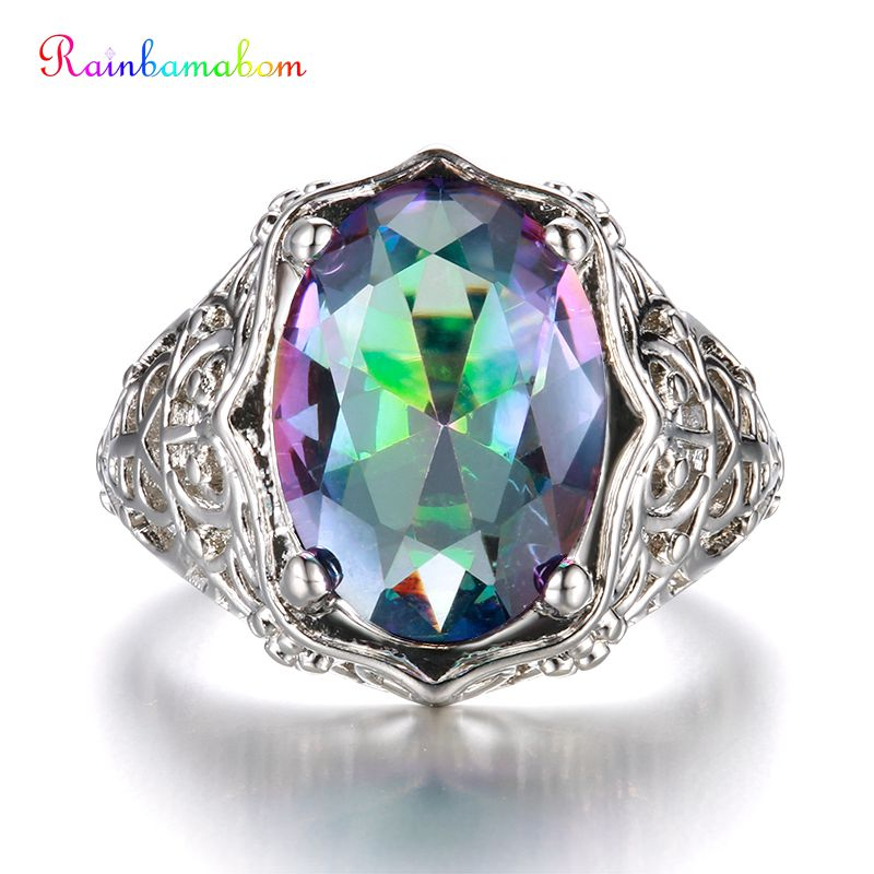 Rainbamabom 925 Solid Sterling Silver Mystic Rainbow Topaz Gemstone Wedding Engagement Hollow Ring Fine Jewelry Gifts Wholesale