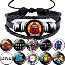 Anime Game Among Us Leather Bracelet Cartoon Charms Bracelets Kids Boy Colourful Jewelry Gift