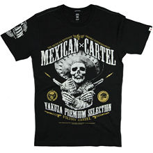 Yakuza Premium T-Shirt 2608   YPS Selection Black Mens Mexican Cartel- show original titleSummer Casual Man T Shirt