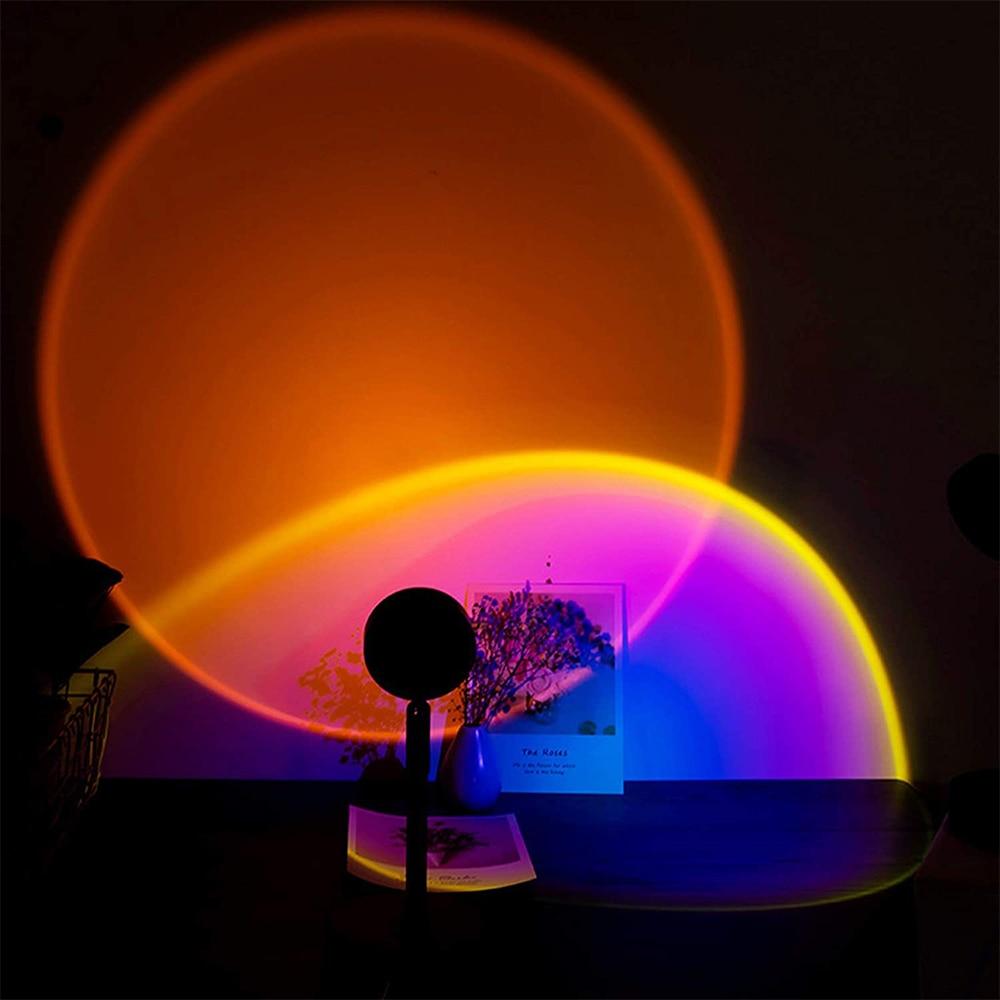 Проекционный эстетический светильник с закатом, светодиодный ночник с USB, настенный светильник, фон для фотосъемки для дома, гостиной, спаль...