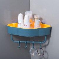 Punch-freies Ecke Bad Regale mit Haken Bad Zubehör Shampoo Dusche Regal Halter Wand-montiert Lagerung Rack